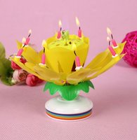 cake candle - EMS Birthday Candle Music Candles Party Decoration Lotus Flower Double Layered Rotating Sound Cake Topper Red Blue Yellow Pink I3813