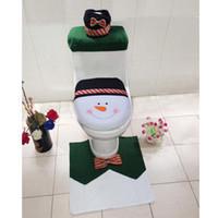 Wholesale 4pcs set Snowman Bathroom Set Toilet Seat Cover Contour Rug Tank Case For Home Bathroom Xmas Decoration XMas58