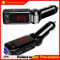 Wholesale bluetooth Universal Car charger mini car charger bluetooth handsfree with double USB charging port V A LCD U disk FM broadcast Mp3 AUX