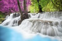 background forest - Custom photo wallpaper D stereoscopic Forest waterfall blue lake TV background d mural wallpaper