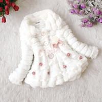 Wholesale New Fashion Children s Little Girl Faux Fur Coat Fleece Cute Kid Girls Toddlers Winter Warm Thicken Jacket girls long down coat