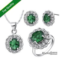 Wholesale Red Green Purple Blue Austrian Crystal Silver Wedding Jewelry Sets Earrings Necklace Ring Jewellery Set T538