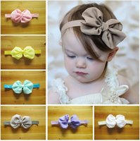 Wholesale 30pcs chiffon foldover hair bows Christmas children hair accessories headband bowknot hairband baby girl elastic headband infant headwear