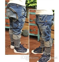 Wholesale HOT Children s harem pants boy girls patchwork jeans kids boy Fashion zipper design jeans