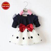 Cheap Angel Baby Clothes Best Korean Childrens Girls Clothing Blue Cotton Kids Clothes with Bow Toddler Tutu Dresses for Girls Fashion C097