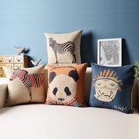 animal portfolio - 18 quot or quot linen Decorative throw pillow cover Animal portfolio sofa Cushion cover home Decor pillows cover set owl pillow case