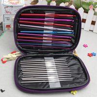 crochet hook - 22pcs set Multi colour Aluminum Crochet Hooks Needles Knit Weave Stitches Knitting Craft Case New