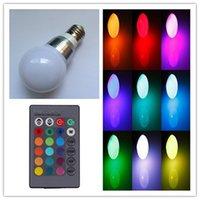 Wholesale E14 E27 B22 RGB Dimmable LED Light AC85 V rgb Bulb W Multiple Color Bulb Lamps key IR Remote Control for Home lighting