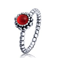 Wholesale 925 sterling silver ring red birthstone female elegant ring party birthday present the highest quality