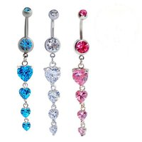 Wholesale Good Quality body jewelry Belly Button Rings Medical stainless steel Body Piercing Heart Navel Rings with AAA CZ