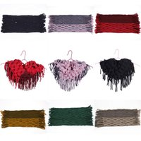 Wholesale Chic Women Men s Knitted Crochet Tassel Infinity Scarves Fringes Loop Scarf Shawl Wraps Hollow Wram DLL