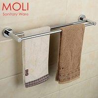 Wholesale Double bathroom towel rack bath stainless steel towel bar double rail for towel bathroom chrome finish