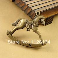 antique rocking horse - A3255 Antique Bronze Zinc Alloy Vintage Rocking Horse Charms