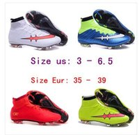 Wholesale children soccer shoes boys Superfly FG Football Boots High Ankle Soccer Shoes women Outdoor Cleats size