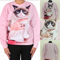 Cheap 2015 Harajuku style Fashion Women Men Punk Clothes Grumpy Pink Angry Cat Show 3D Effects Hoodies Sweatshirts Sweat Coat Tops