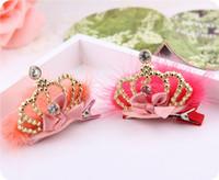 Wholesale Newest Korean Children Hair Accessories Luxurious Plush Ball Crown Hairpin Christmas Ornaments Upscale Boutique Headdress