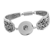 ancient silver bracelet - Nusha style ancient silver bracelet carved Noosa Match DIY personalized snap button anti fatigue Valentine Jewelry H23