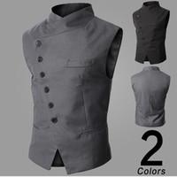 Wholesale New Fashion Asymmetrical Button Designer Waistcoat Men Colete Social Mens Dress Vest Blazer Men Suit Vest Coletes M XXL