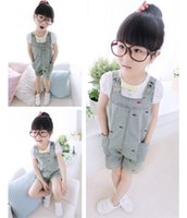 Wholesale Girls Suspender Thouser Cowboy Washed Denim Pants For Girls Wash Kids Jeans Girls jumpsuits Children Jeans