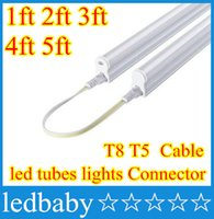 Wholesale 1ft ft ft ft ft Cable for Integrated T8 T5 led tubes lights Connector cm cm cm cm cm