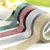 Wholesale 15pcs Glitter Washi Sticky Paper Masking Adhesive Tape Label DIY Craft Decorative