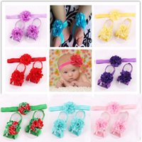 Wholesale Newborn baby flower headband barefoot sandal sets satin flower hair accessories for Photography props