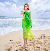 Wholesale 2015 Spring And Autumn And Winter Fashion Large Silk Chiffon Scarf Beach Towel Sunscreen Shawl Sarongs