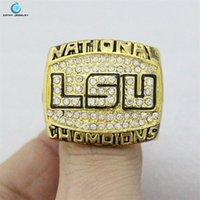 anillo plisada 2003 LSU Tigers Nacional del Rhinestone el anillo de campeonato de cristal de oro para los hombres