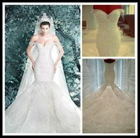 Wholesale Michael Cinco Mermaid Lace Wedding Dresses White With Crystal Off Shoulder Sweetheart Chapel Train Wedding Bridal Gowns Custom Made