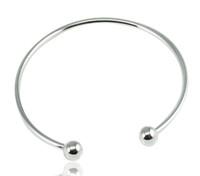 Wholesale 925 Sterling Silver Fill Open Women Cuff Bangle MM MM MM Size Fit European Beads Charm Bracelet