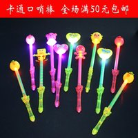 Wholesale Flash stick cartoon stick luminous toy whistle new cartoon stick Colorful LED flash toys