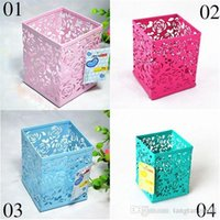 Wholesale Hollow Rose Flower Beautiful Metal Pen Holder Organizer Office Desk Container Y835 B A5