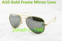 achat en gros de lentille lunettes gratuit-1pcs Hot Brand Mens Womens Large Metal Sunglasses Designer Glasses Gold / Mirror 62mm Lens Expédition gratuite