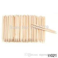 Wholesale 100Pcs Orange Wood Sticks Nail Art Care Salon Cuticle Pusher Remover Manicure Tool T1287 W0 SYSR