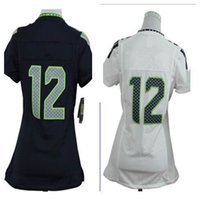Cheap Free Shipping Hot Sales American Football Jerseys Women's Seattle #12 FAN Navy Blue Stitched Game Jersey Size S--XXL Blue and white T-shirt