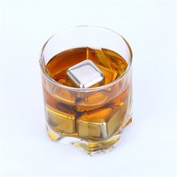 Wholesale 1Pcs Stainless Steel Whiskey Wine Stones Ice Cubes Soapstone Glacier Cooler Stone Bar Beer Drink Cooler