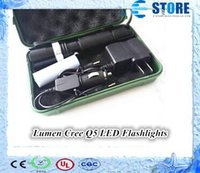 Wholesale Lumen CREE Q5 LED flash light Rechargeable Zoomable Flashlight Torch Baterry Charger Box By J