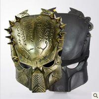 avp gold - Alien vs Predator Mask AVP Movie Replica Collectible Statue Prop Gift Silver Gold Color Available