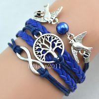 dove charm - 2015 NEWLuxury Charm Bracelets Fashion bracelet Retro bracelet Tree of Life Dove of peace Jewelry leather Hand woven bracelet Wraps