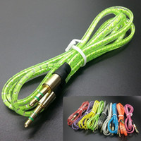 Wholesale 3 mm AUX Audio Crystal Cable for Iphone Plus M Auxiliary Stereo Jack Male Noodle Braided Cord for Samsung S4 Speaker MP3 Cell Phone