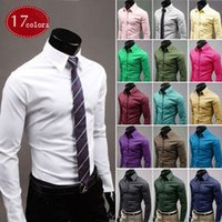 Wholesale NEW Fashion Business Casual colors BIG SIZE long sleeved Slim fitting lapel pure color man s shirt