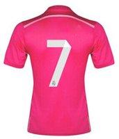 Top calidad de Tailandia 14 15 Madrid Lejos Pink Soccer Jersey, # 7 Ronaldo # 10 James Jersey de fútbol Tops orden mezclada Aceptado