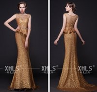 Cheap 2015 Fashion Gorgeous Beaded Sequin Peplum Gold Evening Dresses Mermaid Formal Dress Pageant Gowns