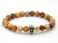Wholesale 2014 New Beaded Men Bracelets mm Picture Jasper Stone beads Silver Skull Bracelet