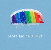 Wholesale high quality dual line1 m parafoil kite with control bar line power braid sailing kitesurf rainbow sports beach