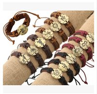Wholesale 2015 new unisex Leather cowhide zodiac signs couple Bracelets layer cowhide alloy constellation bracelets handmade infinity weaving0311