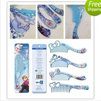 plastic hair comb - Hot Frozen Girls Hair Brush Cartoon Combs Princess Anna Elsa Children Make up Hair care Plastic Comb Brushing with retail package DHL free