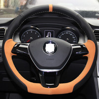 Wholesale XuJi Black Genuine Suede Leather Steering Wheel Cover for Volkswagen VW Golf New Polo