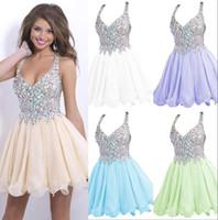 Wholesale Lovely Mini Short Homecoming Dresses Spaghetti Straps Full Beaded Bodice Crystal Chiffon Ruffles Prom Party Dresses Bridesamid Dress