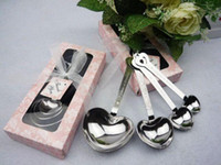 Wholesale Heart Shaped coffee tea measuring Spoon Wedding lover Favors gift stainless steel dinner tableware